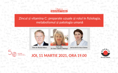 Zincul și vitamina C: preparate uzuale și rolul în fiziologia, metabolismul și patologia umană